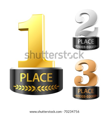 First, second and third places. Vector. - stock vector