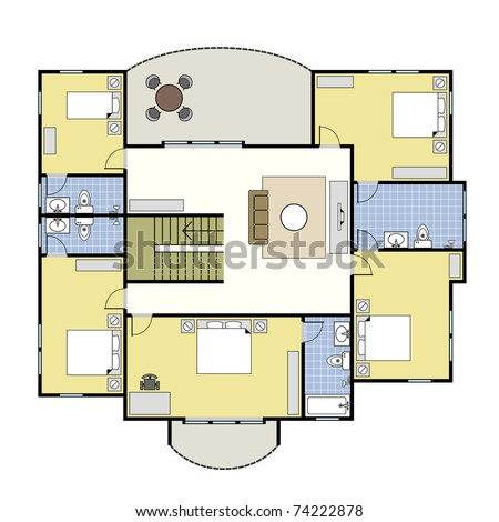 Ground floor plan floorplan house home stock illustration 74222731 first second floor plan floorplan house home building architecture blueprint layout malvernweather Choice Image