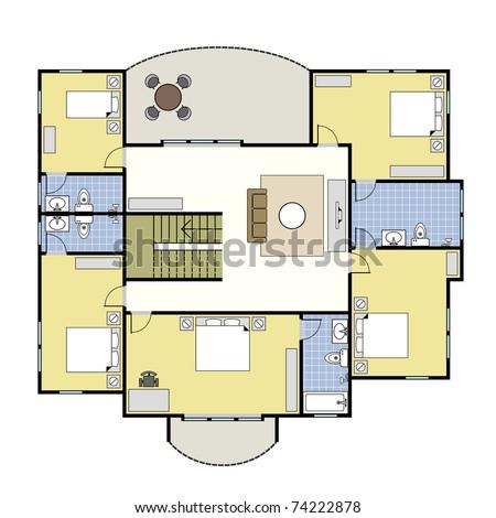First Second Floor Plan Floorplan House Home Building Architecture Blueprint  Layout. Ground Floor Plan Floorplan House Home Stock Vector 74222734