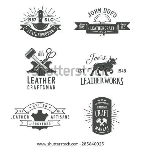 First set of grey vector vintage craft logo designs, retro genuine leather tool labels. artisans market insignia illustration. - stock vector