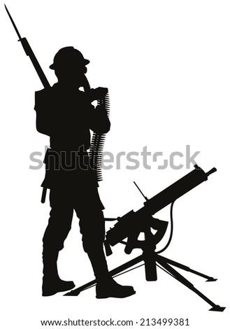 First World War soldier with mashine gun detailed vector silhouette. EPS 8 - stock vector