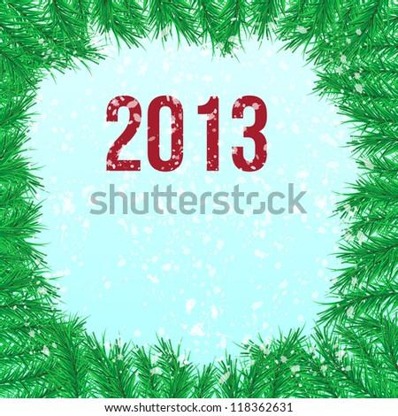 firtree branch, 2013, snowfall - stock vector