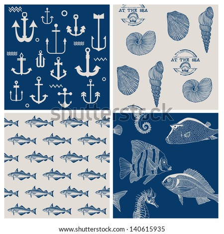 Fish and Marine Background Set - for scrapbook or design - in vector - stock vector