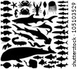 Fish and sea animals collection - vector silhouette - stock vector