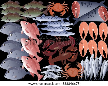 Fish and seafood background, EPS 8 vector illustration, no transparencies, no mesh - stock vector