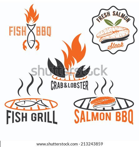 fish and seafood bbq set - stock vector
