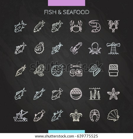 Fish and seafood chalk icons set. Vector Illustration