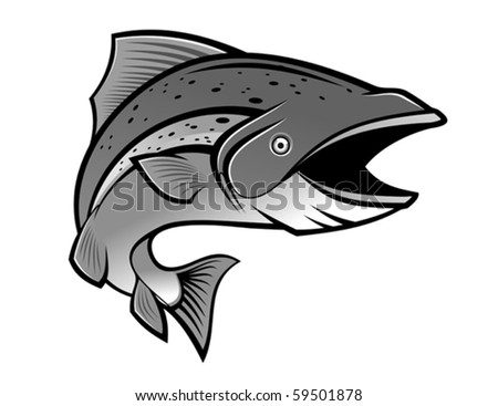 Fish as a fishing symbol isolated on white - also as emblem. Jpeg version also available in gallery - stock vector
