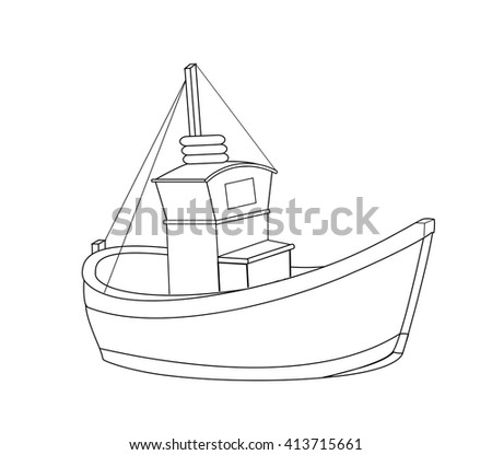 Fish boat drawing line on white stock vector 413715661 for How to draw a fishing boat