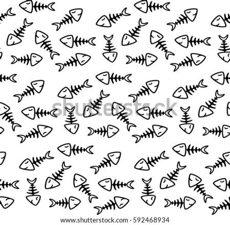 fish bone seamless pattern design stock vector royalty free