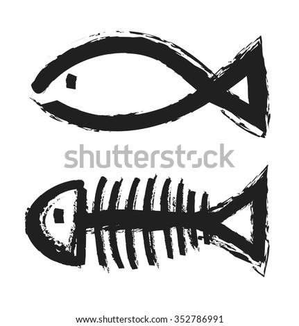 fish bone skeleton symbol vector icon logo design - stock vector