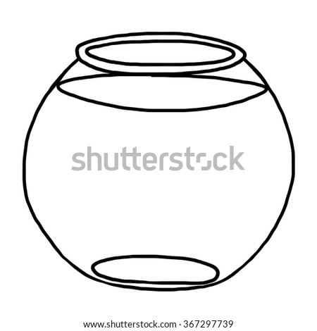 fish bowl / cartoon vector and illustration, black and white, hand drawn, sketch style, isolated on white background. - stock vector