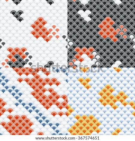 Fish Carp Koi Scales Seamless Pattern Set - stock vector