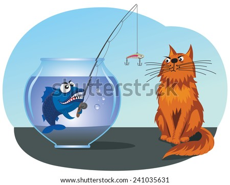 Fish catches a cat from a fishbowl using a rod with a lure - stock vector
