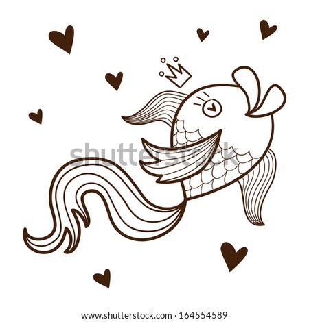 Fish character. Sketch vector element for romantic design - stock vector