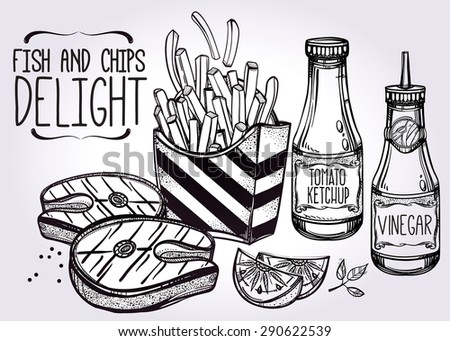 Fish & Chips Set . Fast food poster vintage linear style. Isolated vector illustration. Hand drawn snacks . Foods: Fish, Lemon, French Fries, Sauces. Perfect menu template  for restaurant or bar, pub. - stock vector