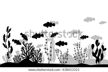 Fish clowns floating near seaweed on the sea bottom vector silhouette