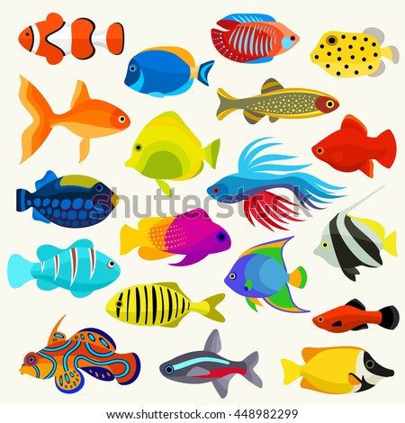 Fish Colorful Vector Set - stock vector