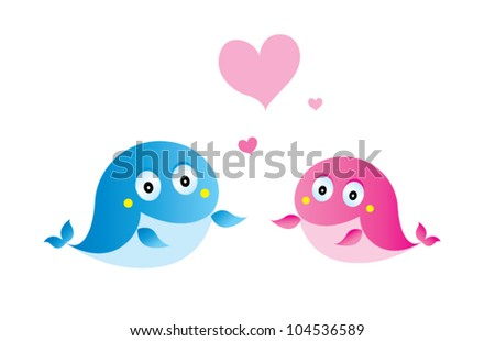 fish couple - stock vector