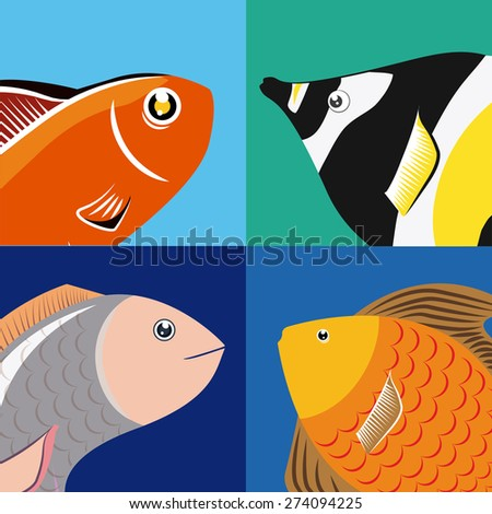 Fish design over colorful background, vector illustration. - stock vector