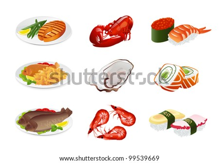 Fish dishes (vector set). Illustration on white background
