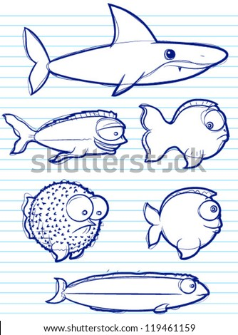 Fish Drawings - stock vector