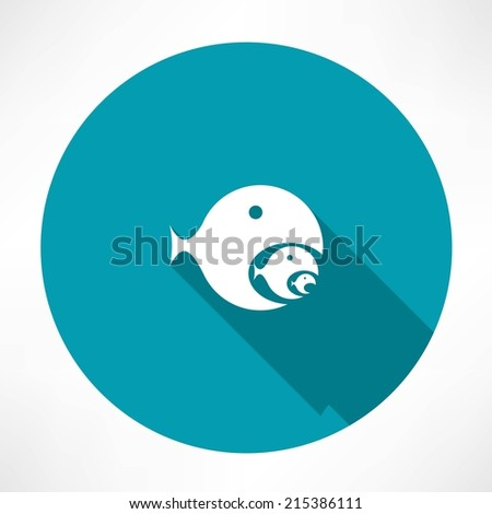 fish-eating fish icon - stock vector