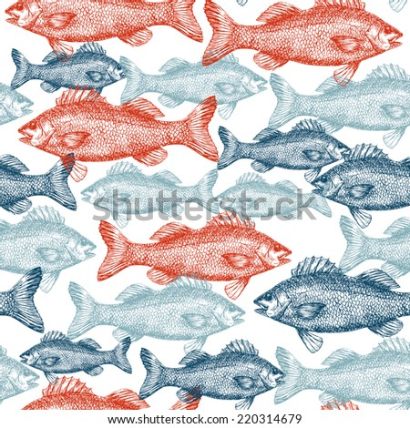 Fish Engraved Seamless Pattern - stock vector