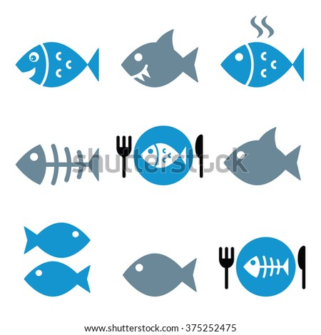 Fish, fish on plate, skeleton vector icons  - stock vector