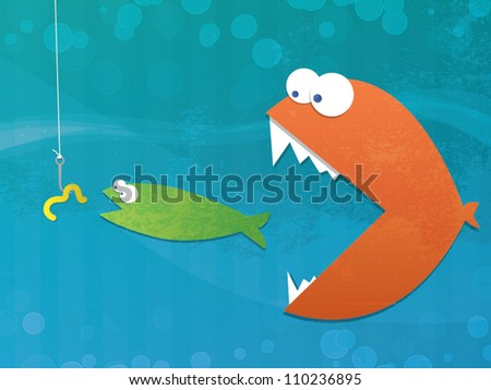 Fish Food Chain/Fully editable vector format with layers - stock vector