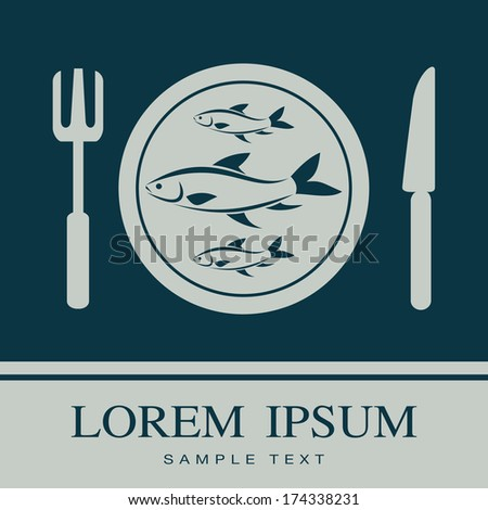 Fish, Fork and Knife icon, restaurant sign - stock vector