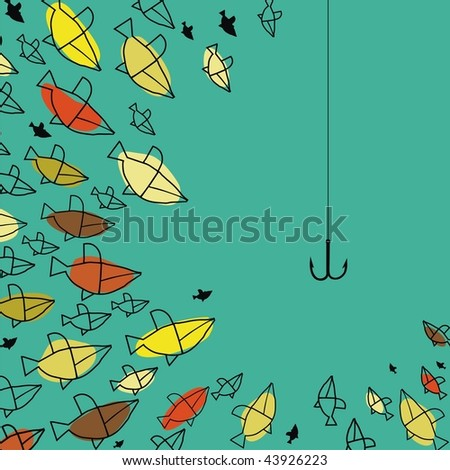 fish group looking the hook - stock vector
