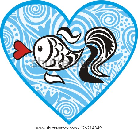 Fish heart love valentines day vector illustration - stock vector