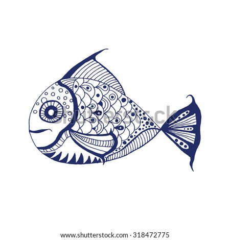 Fish illustration - Zentangle stylized Fish. Hand Drawn doodle vector illustration isolated on white background. - stock vector