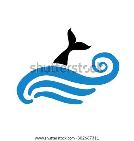 fish in water, vector logo illustration - stock vector
