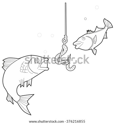 Fish is trying to hook with a worm. Black and white vector illustration  - stock vector