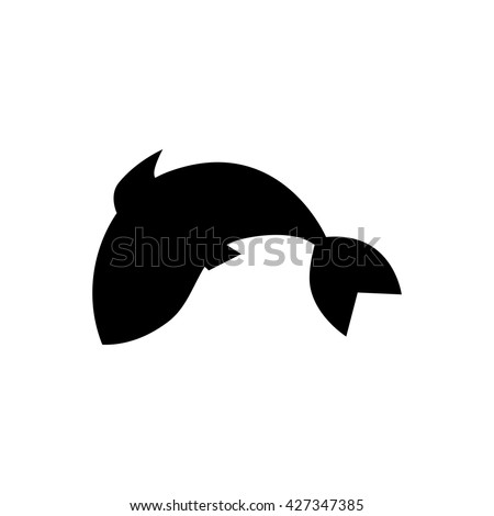 Fish jumping in water. Vector illustration. Fish icon isolated