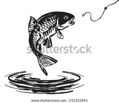 Fish jumping out of the water. Vector illustration. - stock vector