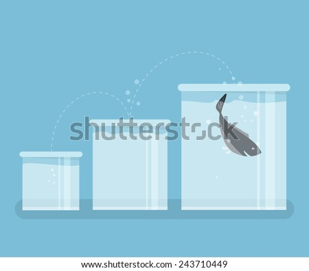 Fish jumping to the better aquarium. for success concept. - stock vector