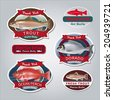 Fish labels set 4. Vector illustration. - stock