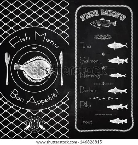 Fish menu chalk design - stock vector