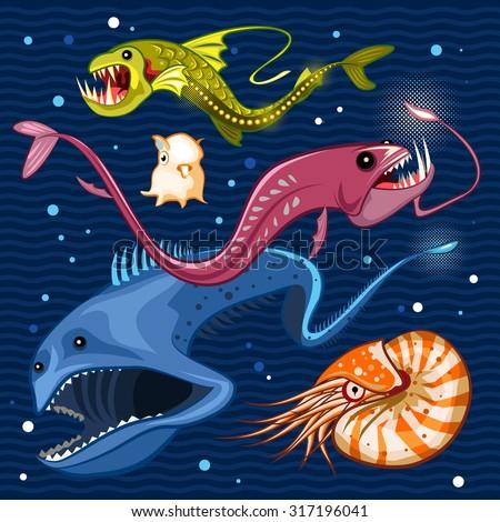 Fish Of The Deep Blue Sea Collection Set 02  Illustration of monsters of the deep blue sea collection set 02 Contains viperfish, dragonfish, gulpereel, nautilus & dumbo squid  - stock vector