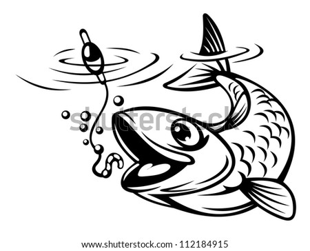 Fish oh hook as a fishing sport concept. Vector illustration - stock vector