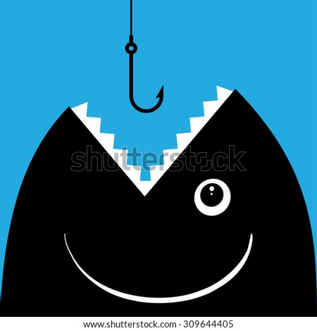 Fish open mouth to swallow a hook - stock vector
