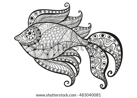 Fish, ornamental graphic fish, floral line pattern. Vector. Zen tangle. Coloring book page for adult. Hand drawn artwork.