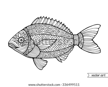 Coloring book pages food stock images royalty free images for Adult fish coloring pages