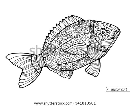 Fish, ornamental graphic fish, floral line pattern. Vector. Zentangle. Coloring book page for adult. Hand drawn artwork. Bohemia concept for restaurant menu card, branding, logo label. Black and white - stock vector