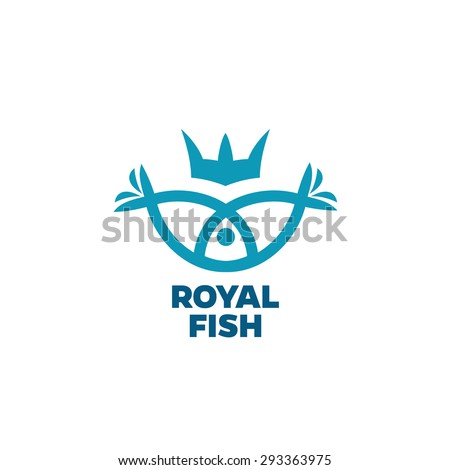 Fish outline silhouettes with crown logo - stock vector