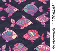 Fish pattern in abstract style. Copy square to the side and you'll get seamlessly tiling pattern which gives the resulting image ability to be repeated or tiled without visible seams. - stock photo