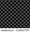Fish scales black and white seamless pattern (vector version) - stock vector